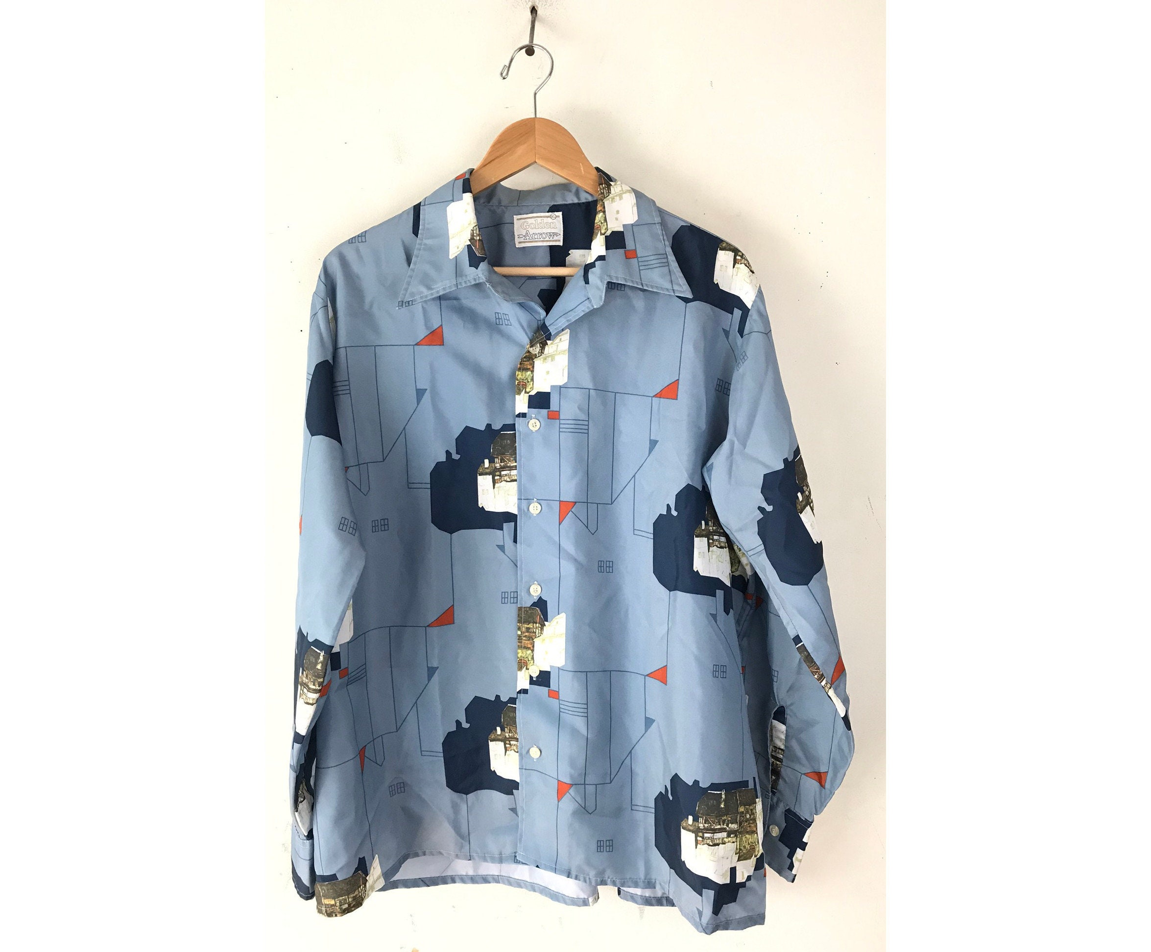 1970s Mens Shirt Styles – Vintage 70s Shirts for Guys 70S House Print Disco Shirt Mens Xl, Blue Geometric Polyester Shirt, Vintage Retro Architecture $26.00 AT vintagedancer.com