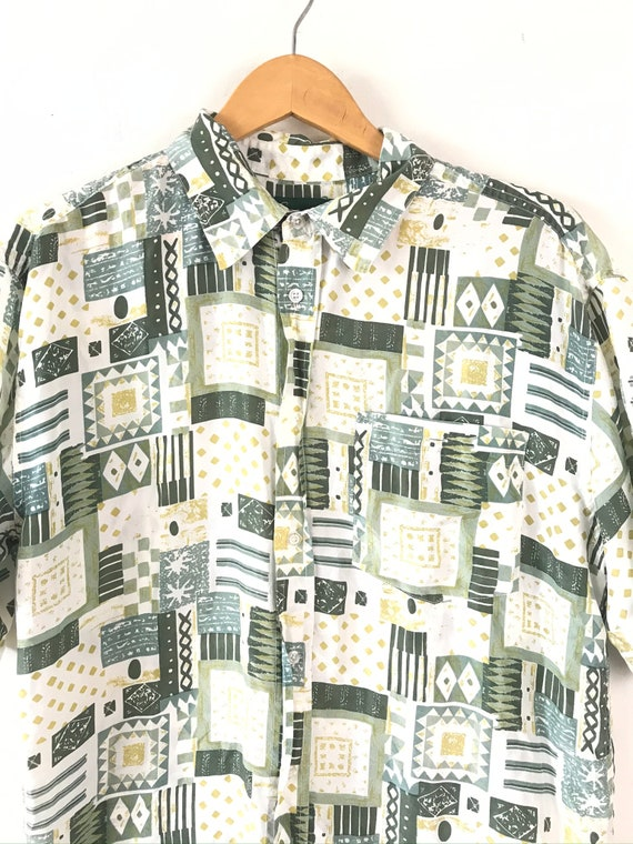Vintage Abstract Print Silk Shirt, 90s Green & Wh… - image 3