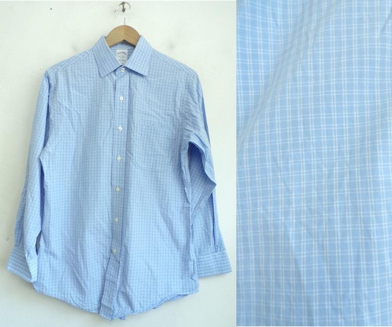 f6126ca2ea984 90s Brooks Brothers Blue   White Plaid Dress Shirt Mens Size