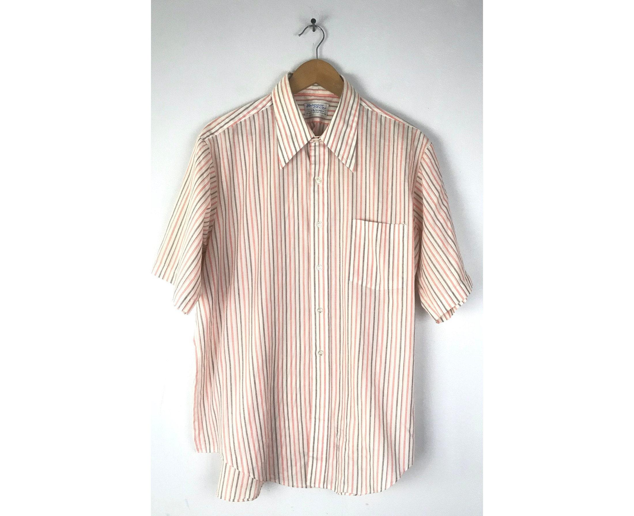1960s – 70s Men's Ties | Skinny Ties, Slim Ties 60S Arrow Orange Black  White Striped Shirt Mens Size Xl 17, Vintage Short Sleeve Button Down Shirt, 1960S Retro Preppy $26.00 AT vintagedancer.com