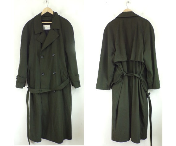 Vintage Bill Blass Olive Green Trench Coat Mens Si