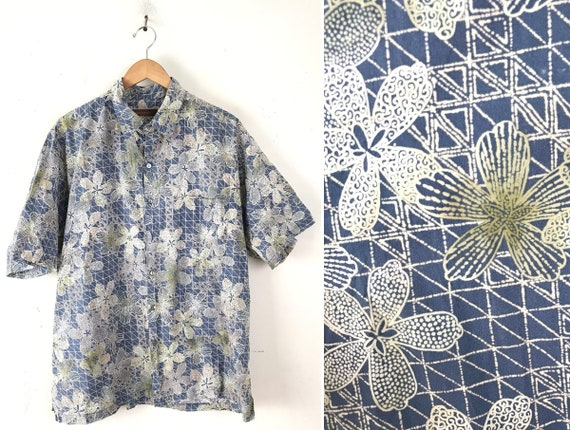 90s Blue White & Green Floral Tori Richard Hawaiia