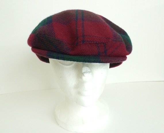 Vintage Red Green & Blue Plaid Newsboy Hat, Red Pl