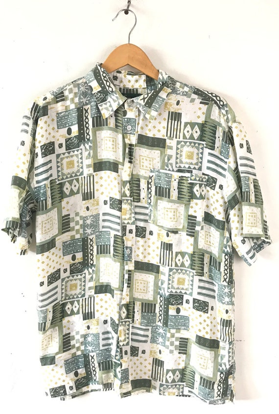 Vintage Abstract Print Silk Shirt, 90s Green & Wh… - image 2