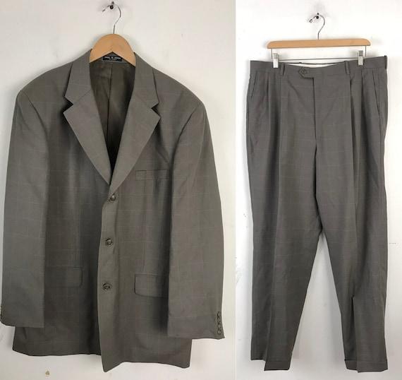 90s Tan Plaid Two Piece Suit Mens Size 43R & 38W,