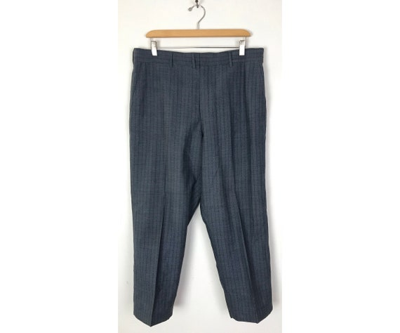 70s Blue Zigzag Print Cropped Dress Pants Mens Si… - image 1