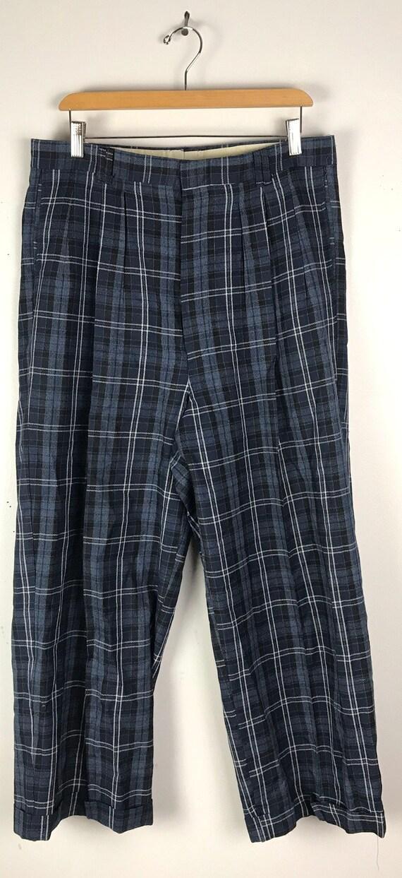 Vintage Dark Blue Plaid Wide Leg Dress Pants Mens… - image 2