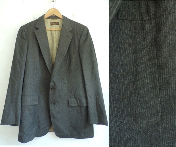 80s Brown & White Pinstriped Sport Coat Mens Size