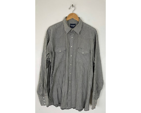 Vintage Wrangler Black & White Striped Western Shi