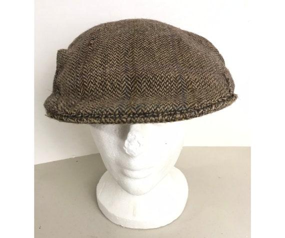 80s Brown Plaid Tweed Newsboy Hat, Brown Tweed New