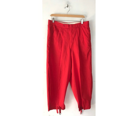 80s Red Golf Knickers Mens Size 34, Vintage Retro