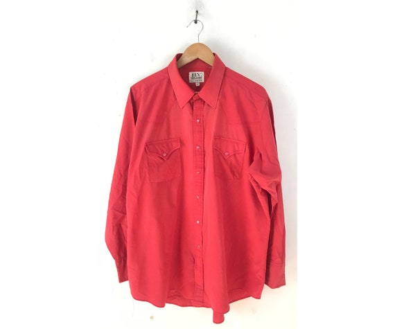 80s Red Western Shirt Mens Size 18 35, Vintage Ely