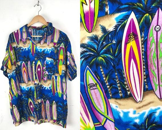 90s Colorful Surfboard Hawaiian Shirt Mens Large,