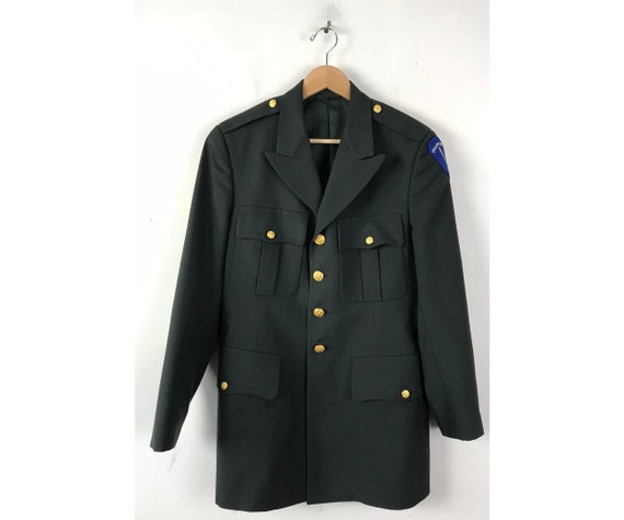 Vintage US Army Green Coat, Green Gold Buttons Men