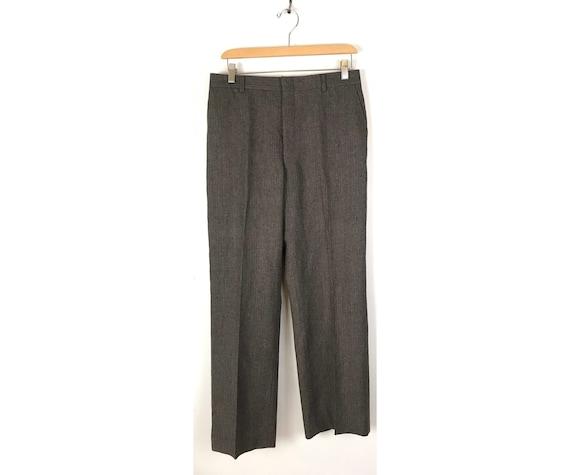Vintage Brown Pinstriped Wool Dress Pants Mens Siz