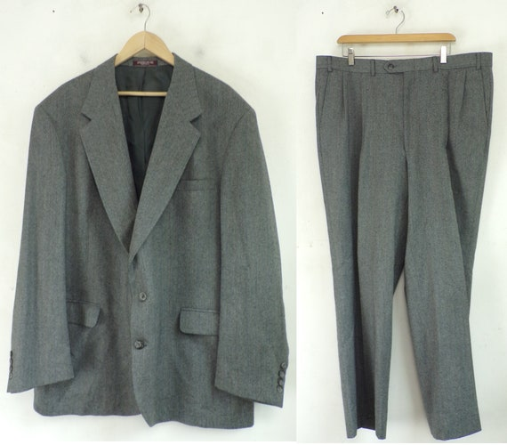 Vintage Gray Tweed Two Piece Mens Suit 52R & 41 Wa