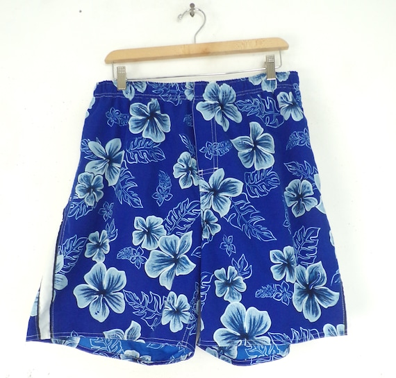 90s Blue Floral Swim Trunks Mens Large, Blue Swim