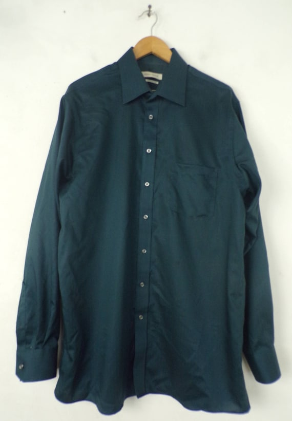 90s Joseph Abboud Teal Dress Shirt Mens Tall 17 3… - image 2