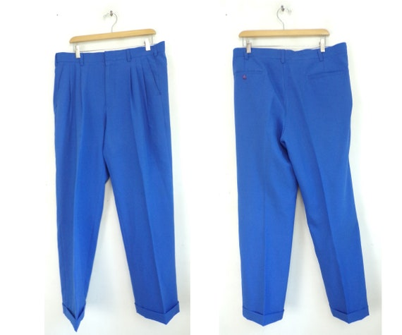 Vintage Bright Blue Pants Mens 34 Waist, Bright Bl
