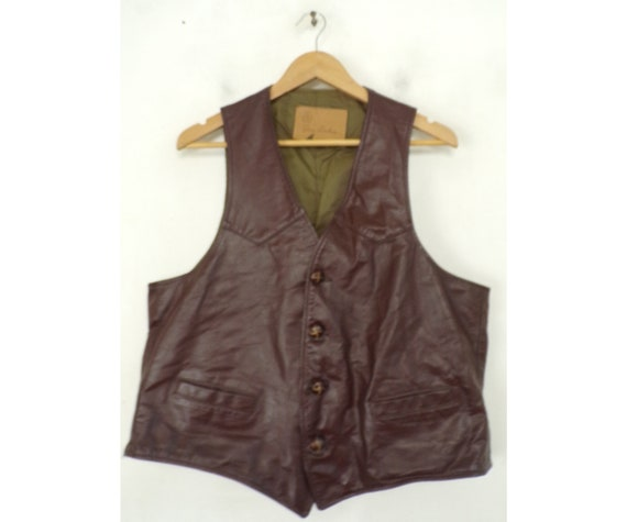 80s Brown Leather Vest Mens Large, Genuine Leather