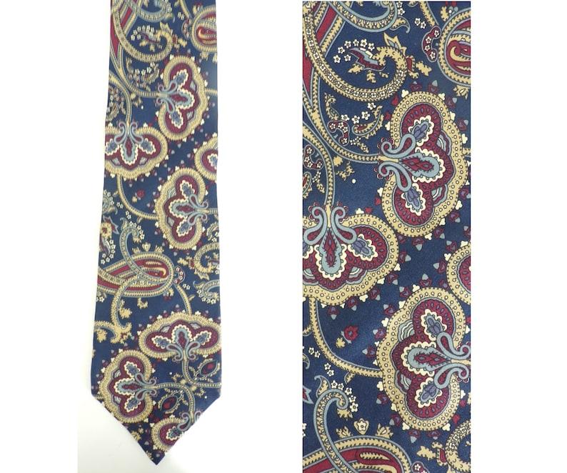 914c24d096ba 90s Blue Red & Tan Paisley Print Mens Tie Paisley Print | Etsy