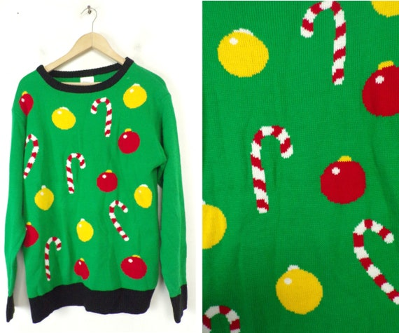 Vintage Christmas Ornament & Candy Cane Sweater Me