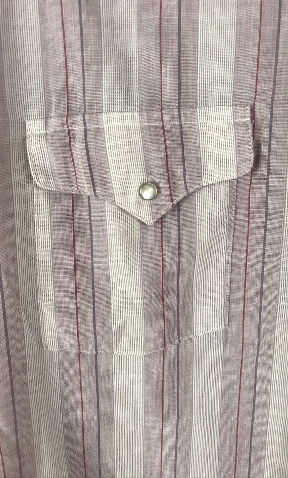 Vintage Purple & White Striped Western Shirt Mens… - image 4