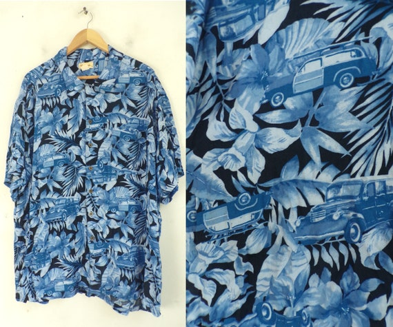 Vintage Floral Hawaiian Shirt Blue Print Mens 3XL