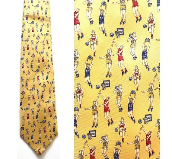 90s Yellow Basketball Tie, Old School Basketball,