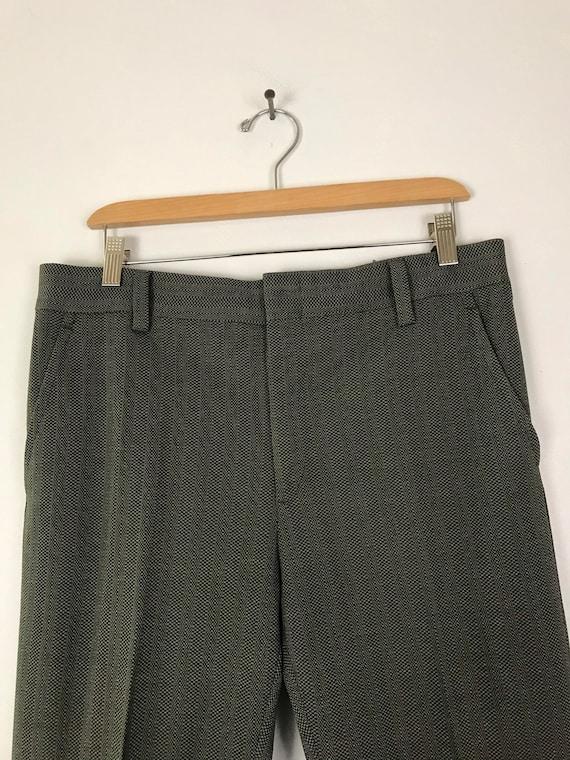70s Green & Gray Print Cropped Pants Mens Size 34… - image 3