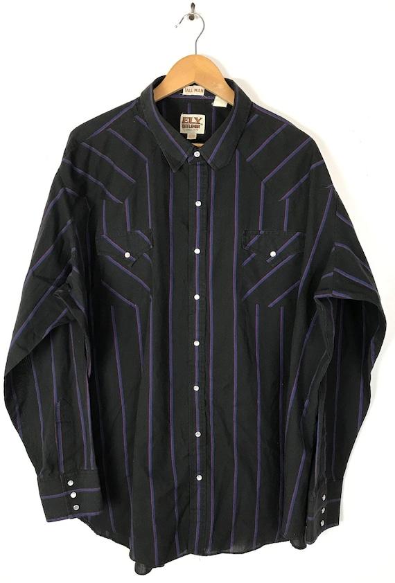 Vintage Black Pink & Blue Striped Western Shirt M… - image 2
