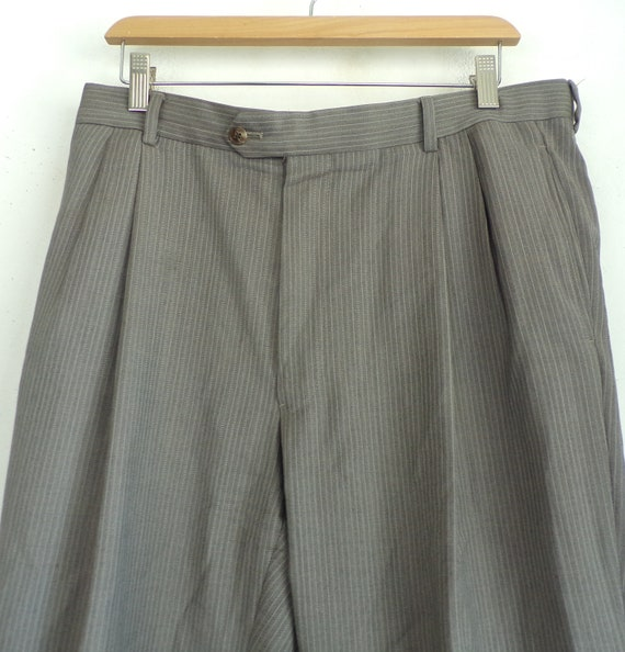 Vintage Brown Pinstriped Dress Pants Mens Size 38… - image 3