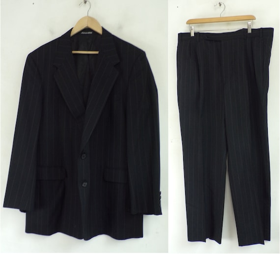 Vintage Black Gray Red Striped Two Piece Suit Mens
