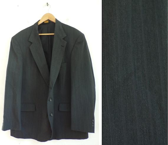 Vintage Black Pinstriped Sport Coat Mens Size 50,
