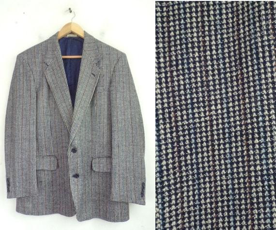 Vintage Blue & White Check Sport Coat Mens Size 42