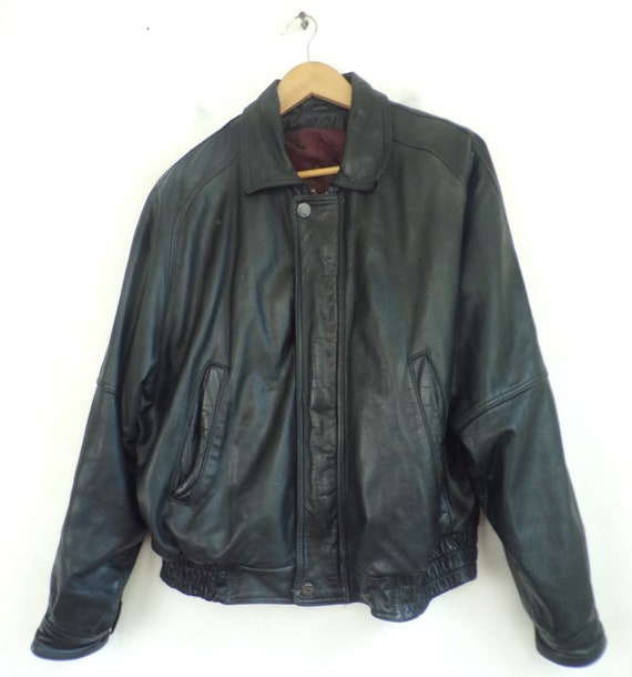 Vintage Black Leather Coat Mens Small, Todays Man