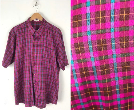 Vintage Hot Pink & Blue Plaid Button Down Shirt Me