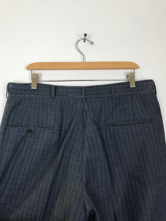70s Blue Zigzag Print Cropped Dress Pants Mens Si… - image 5