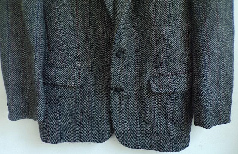Gray Wool Blazer Colorful Pinstripes Mens Gray Tweed Blazer Vintage Dark Gray Tweed Sport Coat Mens Size 40 90s Blazer Tweed Sport Coat