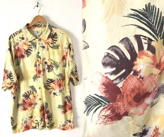 90s Yellow & Orange Floral Silk Hawaiian Shirt Men