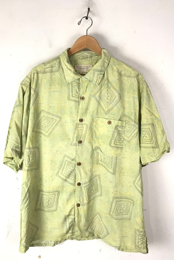 90s Light Green Abstract Print Silk Shirt Mens XL… - image 2