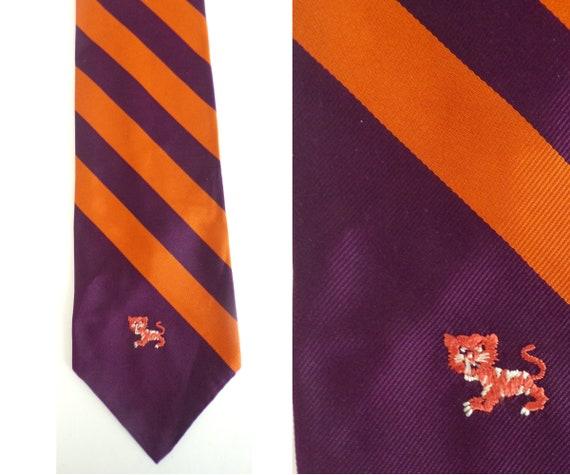 Vintage Orange & Purple Cat Tie, Wide Tie, Striped