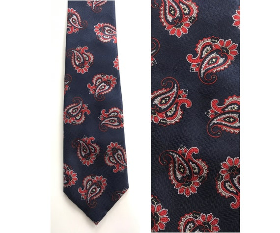 90s Wembley Blue & Red Paisley Print Tie, Paisley