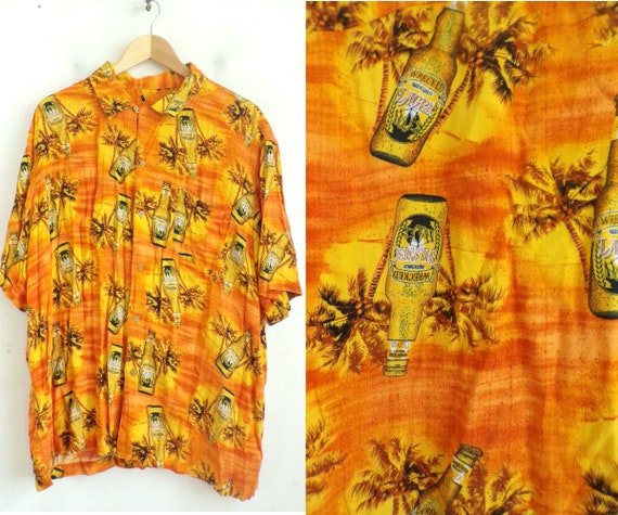 Vintage Orange Wrecked Lager Beer Hawaiian Shirt M