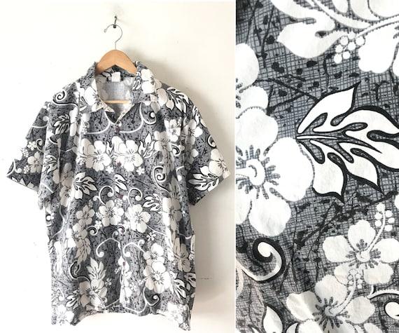 White Cotton Tropical Hawaiian Shirt  size Medium MIDNIGHT in Maui 1980/'s Vintage Black
