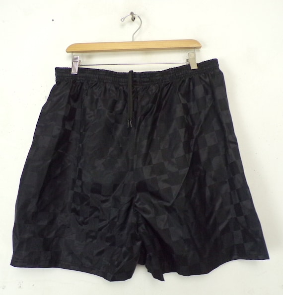80s Black Checkered Soccer Shorts Size XL, New Old