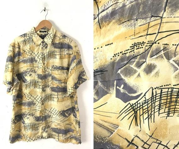 90s Yellow & Gray Abstract Print Silk Shirt Mens L
