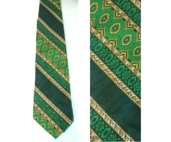 vintage Green Paisley Tie Green and Orange Wide 70s Necktie Fathers Day Gift  Polyester Psychedelic Cravat
