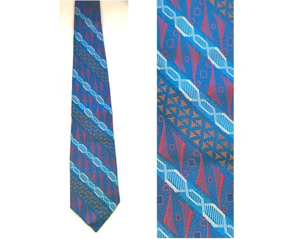 Vintage Handmade Blue Red & Orange Print Tie, Brig