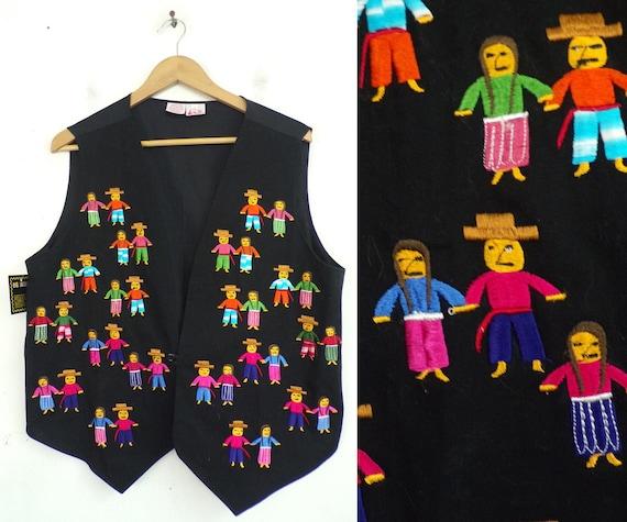 Vintage Hispanic Folk Art People Vest Size Medium,